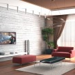 3d rendering. Drawing room a room with a stone wall and a house cinema near — Stock Photo