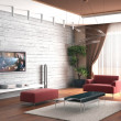 Stock Photo: 3d rendering. Drawing room room with stone wall and house cinemnear