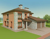 Exclusive two floor country house on the nature. 3d render — Stock Photo