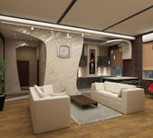 3d rendering.Modern interior of a drawing room in light tones with a kind o — Stock Photo
