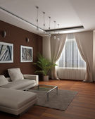 3d design de rendering.modern de um quarto de hóspedes com sensação de um aconchego e — Foto Stock