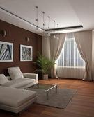 Progettazione 3d di rendering.modern di una camera per gli ospiti con la sensazione di un ambiente accogliente e — Foto Stock