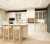 3d diseño de rendering.modern de cocina con la sensación de confort y calor — Foto de Stock