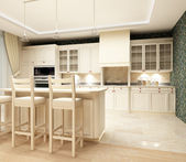 3d rendering.Modern design of kitchen with sensation of a cosiness and heat — Zdjęcie stockowe