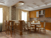 3d rendering. Interior of a dining room and kitchen in classical style in l — Stock Photo