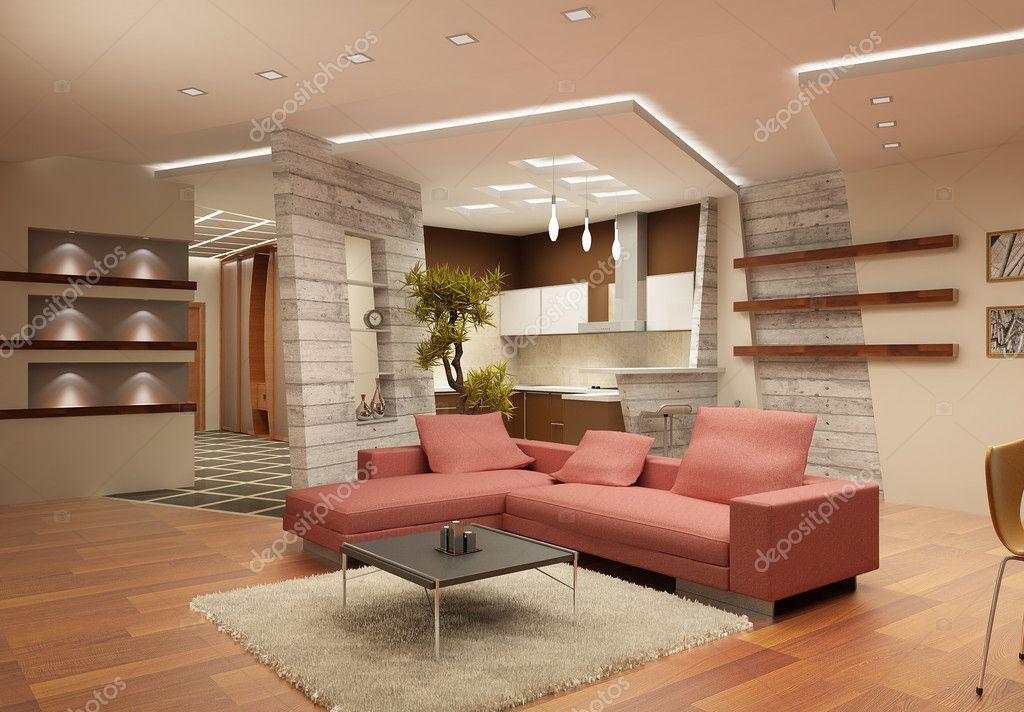 Moderne interieur van een salon in lichte kleuren met een soort op ...