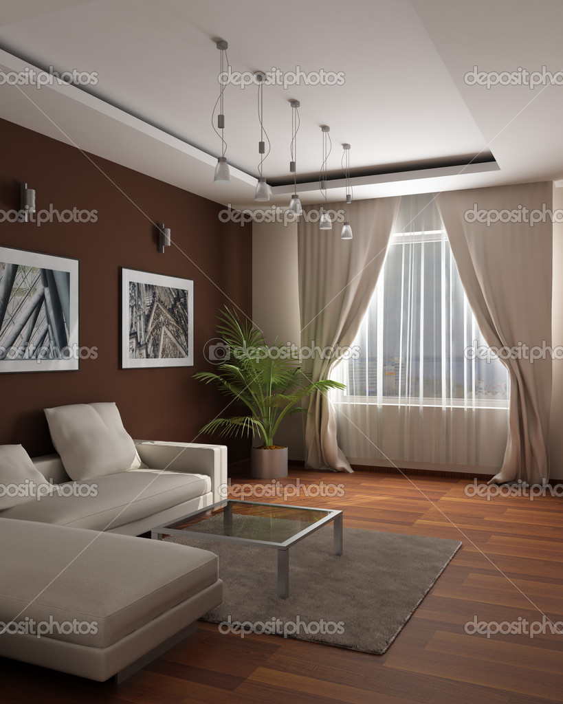3d rendering.Modern design of a guest room with sensation of a cosiness and heat — Stock Photo #3431455