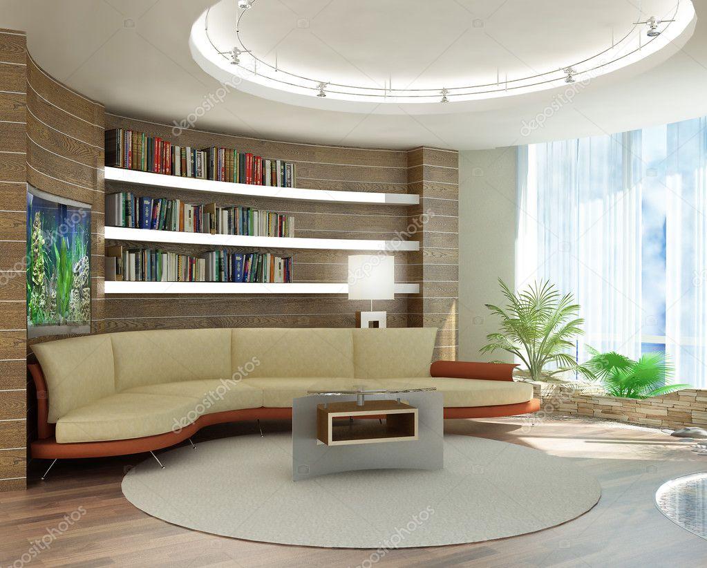 Rendu 3D. intérieur moderne, dun salon, dune chambre avec lambris ...