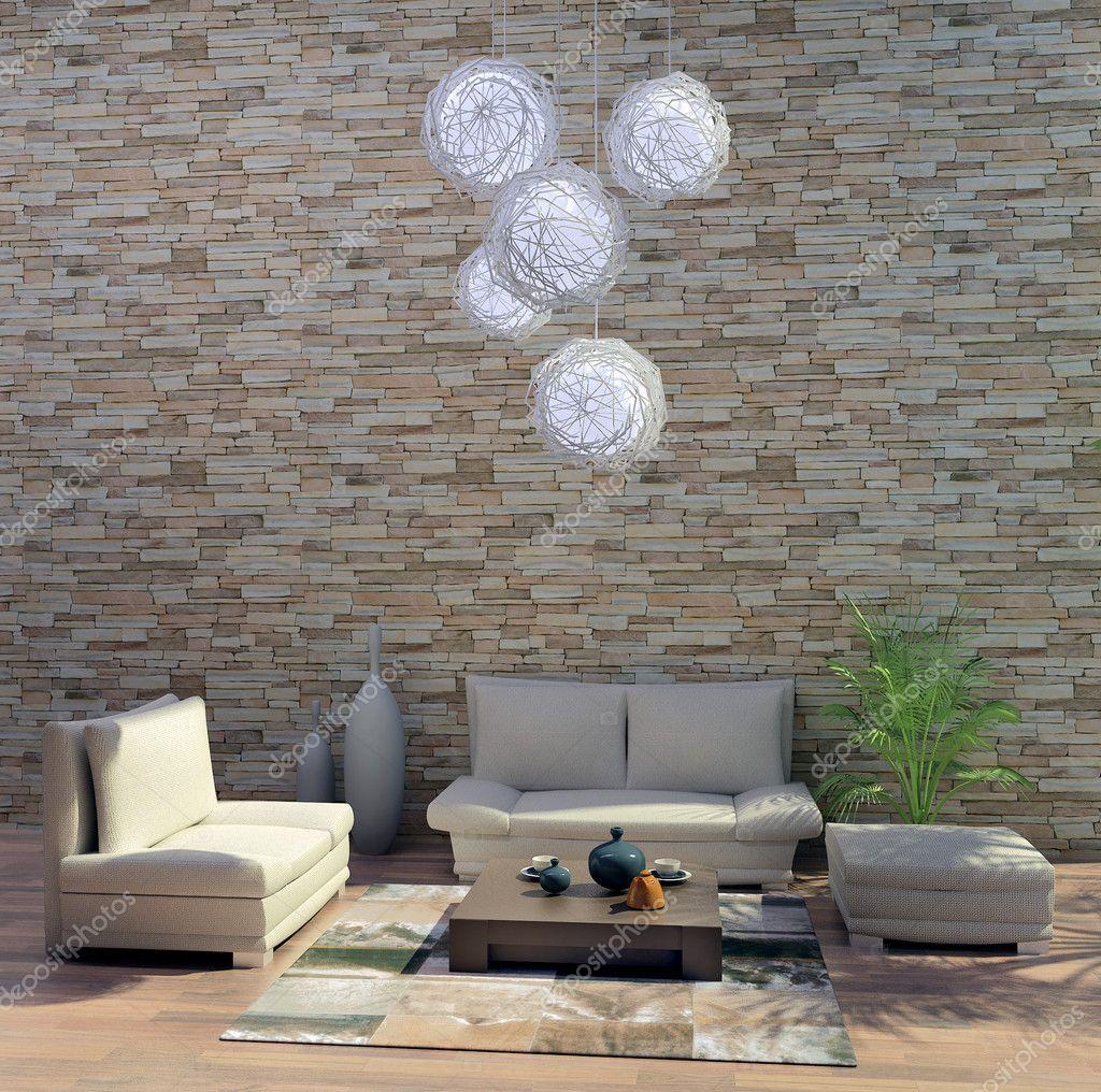 Rendering 3d. salotto, una stanza con un muro di pietra e con ...