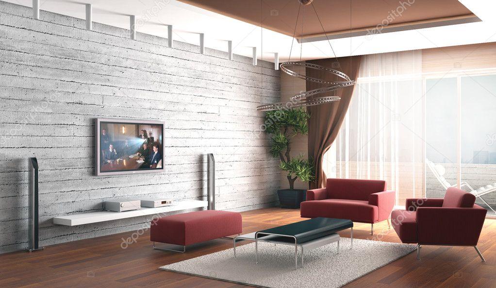 rendering 3d salotto una stanza con un muro di pietra e