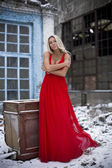 The lady in a red dress on snow — Stock Photo