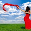 Stock Photo: Girl in red dress and with red shawl