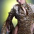 The beautiful woman in the leopard a dress with opened by a waist and a hip — Stock Photo