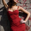 The woman in a red dress near a brick wall — Stock Photo #3731157