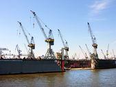 Grúas portuarias en hamburgo — Foto de Stock