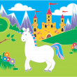 Castle with meadow and unicorn - Stock Photo