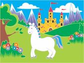 Castle with meadow and unicorn — Stock Photo