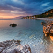 The beach at Akrogiali - Foto Stock