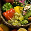 Vegetable and fruit basket - Stock Photo