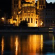 Notre Dame de Fourviere in Lyon illuminated - Foto Stock