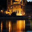 Notre Dame de Fourviere in Lyon illuminated - Stockfoto