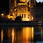 Notre Dame de Fourviere in Lyon illuminated — Stock Photo