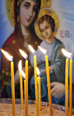 Candles in a Christian Orthodox church — Stock Photo