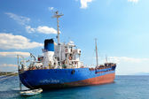 Moored cargo ship — Stock Photo