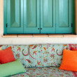 Stock Photo: Sofin porch of Greek island house