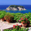 Garden veranda overlooking Aegean - Stock Photo