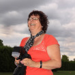 Laughing Lady Photographer — Stock Photo