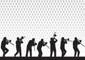 Artist with a trombone — Stockvector