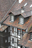 Tile roof of the framework house in a medieval city in Europe — Stock Photo