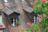 Tegeltak i huset i en medeltida stad i europa — Stockfoto