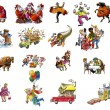 Стоковое фото: Cartoon about celebrating various holidays (Christmas and other