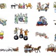 The various transport (car, horse, helicopter, train, airplane, bus...) — Stock Photo #3494445