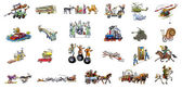 The various transport (car, horse, helicopter, train, airplane, bus...) — Stock Photo