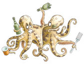Drunk friends-octopuses left restaurant — Stock Photo