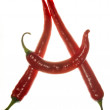 """""""A"""" letter made of chili peppers on white background — Stock Photo #3435356"""