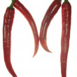 """""""M"""" letter made of chili peppers on white background — Stock Photo #3435365"""