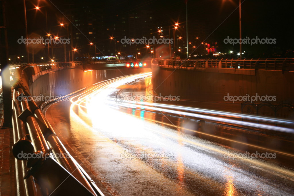 Blurred Motion of Car Lights on Highway at Night — Stock Photo #3717688