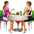 Two girls in caffee - Stock Photo