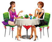Two girls in caffee — Stock Photo