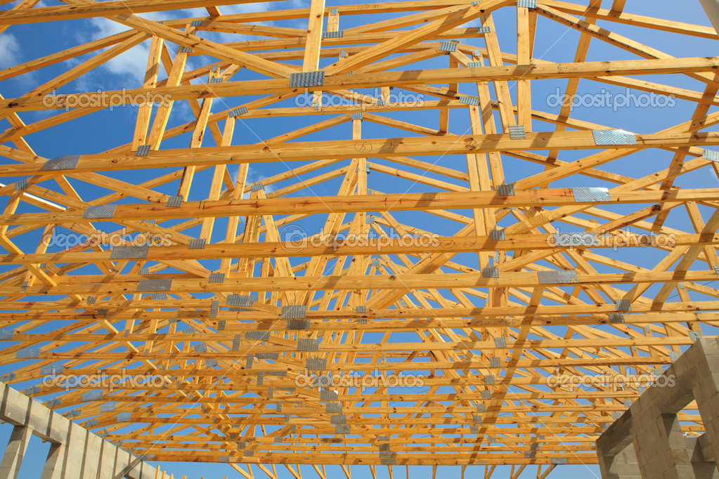 Roof Truss, Construction - Stock Image