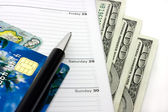 Appointment book and credit cards — Stock Photo