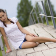 Young woman on the bridge — Stock Photo #3469031