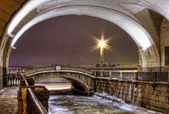 St. Petersburg, ambankment of Neva, winter canal — Stock Photo