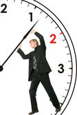 Businessman is stopping time — Stock Photo