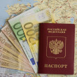 Stock Photo: Passport and bank notes of euro on map