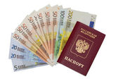 Passport and bank notes of euro, isolated on white — Stock Photo